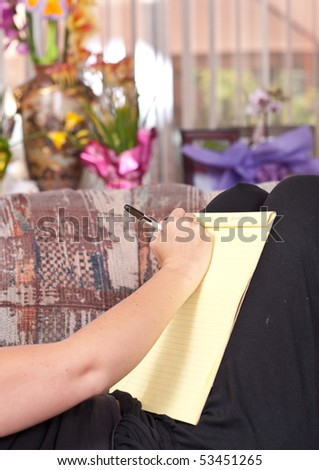 Girl Writing a Letter - stock photo