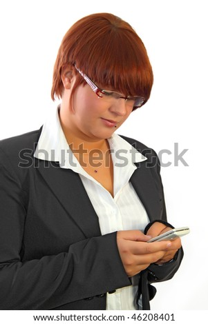 Girl writing an sms on white background