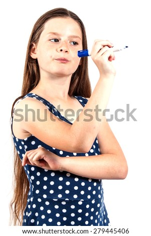 girl writing with  blue pen  - stock photo