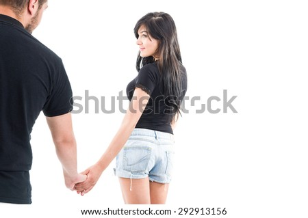 Girlfriend leaving or inviting to go together. Breakup or divorce concept - stock photo