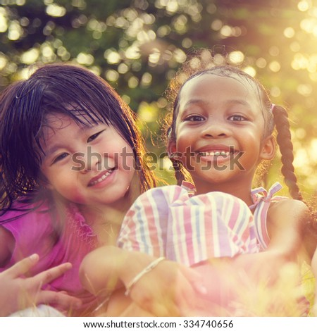 Girlfriends Femininity Friendship Closeness Smiling Concept - stock photo
