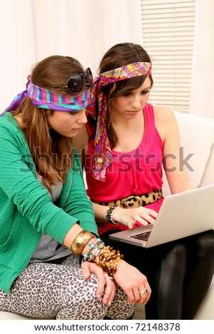 Girlfriends with Laptop
