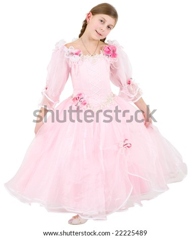 Girlie in pinkish dress on a white background