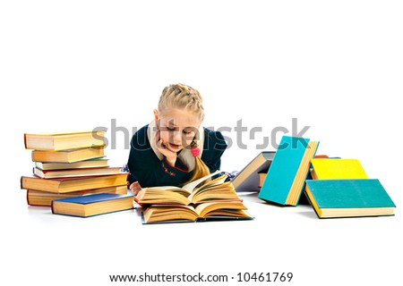girlie with book on white background