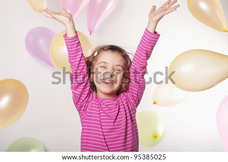 girls and balloons - stock photo