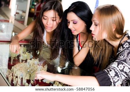 Girls and jewellerys - stock photo