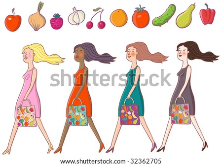 Girls are going from the vegetable shop - cartoon set - stock photo