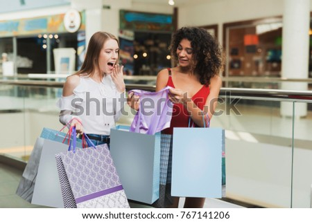 Girls Are Shopping At The Mall Sale In Black Friday On