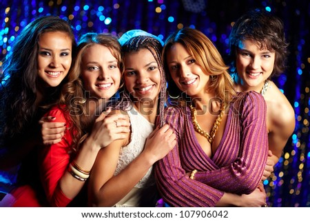 Girls arranging a hen party for their friend in the club - stock photo