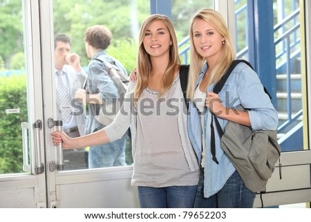 girls at school - stock photo