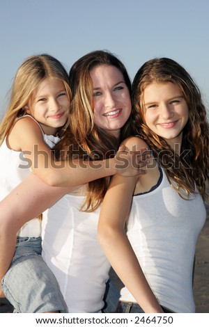 Girls at the beach - stock photo