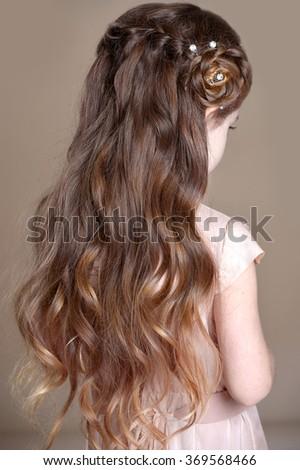 Girls braids. Hairstyle - stock photo