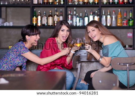 girls celebrating - stock photo