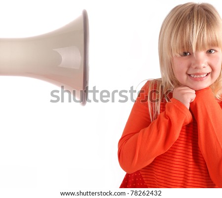 Girls cringing at the sound of a Megaphone - stock photo