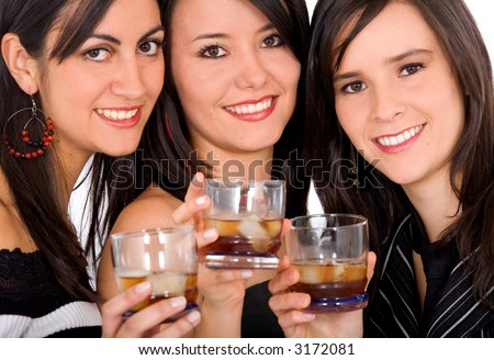 girls drinking whiskey and having fun on a night out