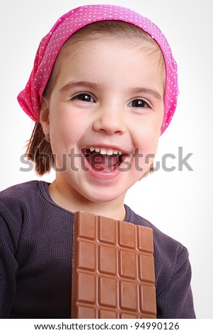 Girls eat chocolate - stock photo