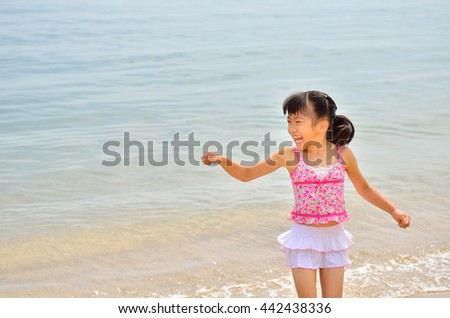 Girls enjoy sea bathing