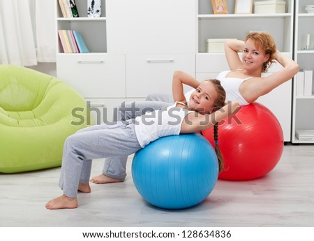 Girls exercising - healthy life education concept