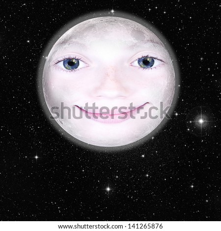Girls face in the shape of a full moon, photograph with star background: parts of this image furnished by NASA - stock photo