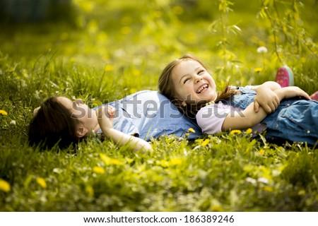Girls having fun - stock photo