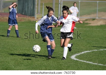 Girls high school soccer. Editorial use only. - stock photo