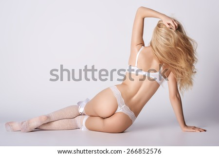 Girls in erotic lingerie posing - stock photo