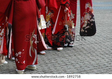 girls in kimono - stock photo
