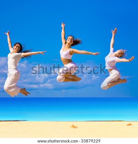 girls jump - stock photo