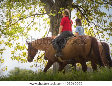 Girls on a horse ride.