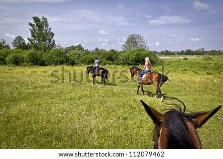 girls on horses - stock photo