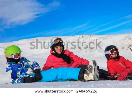 Girls on the skiing - stock photo