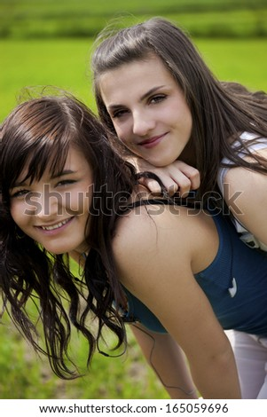 Girls portrait, Looking at camera - stock photo