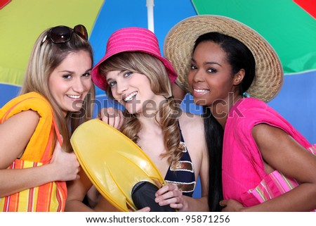 Girls ready for the beach - stock photo