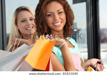 Girls shopping - stock photo