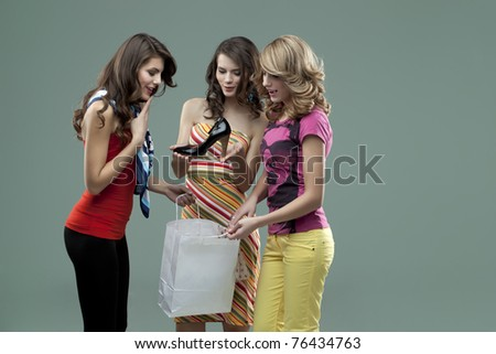 girls shopping gorgeus shoes - stock photo