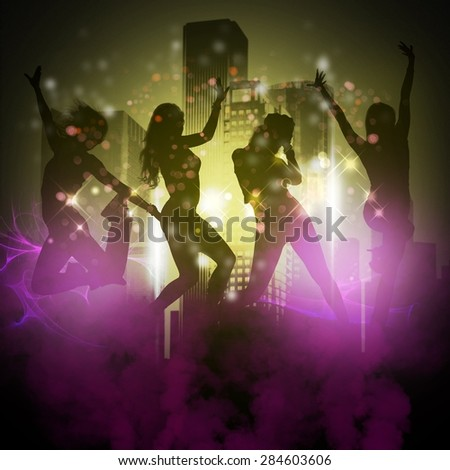 Girls silhouettes dancing between lights and skyscrapers