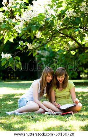 Girls studying outdoors - stock photo