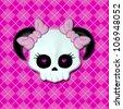 Girly Skullz: emo skull with pink heart eyes and bows on a pink argyle background.  Seamless tile. - stock photo