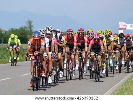 Giro d'Italia 2016: Stage 17 group of riders after km 166 of 196, racing stage race for professional cyclists. Antegnate Lombardy Italy. May 25, 2016