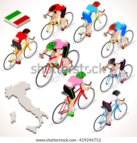 Giro di Italia. Italy racing cyclist riding bicycle path. Flat 3D isometric people set of cyclist icons. Isometric bicycle race Cycling icon. Winner Pink Shirt. Winning Bicyclist Podium Goal - stock photo
