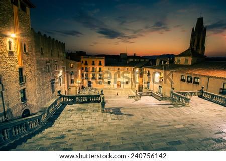 Girona at night, Catalonia, Spain - stock photo