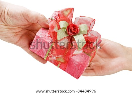 give holiday gift - stock photo