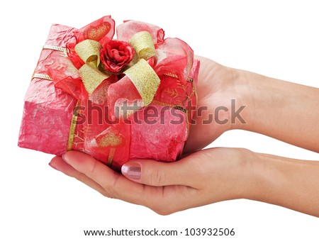 give holiday gift isolated on a white background - stock photo