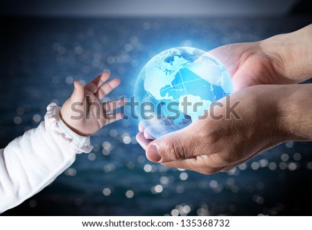 give the world the new generation - Usa - sea background - stock photo