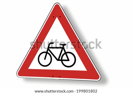 Give way sign with bike, close-up - stock photo
