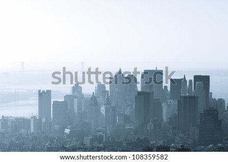 Given a group of skyscrapers in Manhattan, New York, United States - stock photo