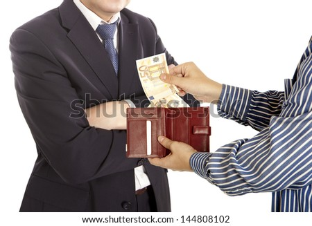 Giving a bribe. Euro banknotes. White background - stock photo