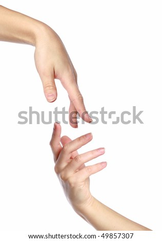 Giving a helping hand. Isolated on a white background