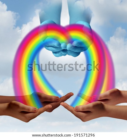 Giving hope concept as hands in the sky pouring rainbow colors to community members as a human relief symbol of helping and supporting development to fight poverty hunger and a for an education. - stock photo