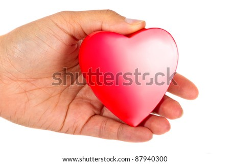 Giving love symbol - female hand holding red heart